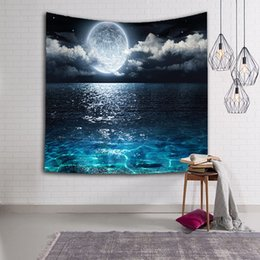 Wholesale beautiful scenery - beautiful space scenic tapestry moon earth hanging wall picture night scenery beach towel nature tenture mural polyester carpet