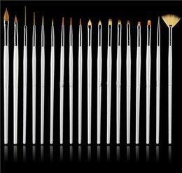 Wholesale Nail Acrylic For Sale - Hot Sale! 15pcs White Professional acrylic Nail Art Brush Set Design Painting Pen Perfect Tools for nail free shipping DHL 60152