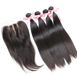 Wholesale Brown Brazilian Weft Closure - 7A Wholehead Top Closure with 4pcs Hair Bundles unprocessed Brazilian Human Hair Weaves Silky Straight virgin hair Extensions Greatremy