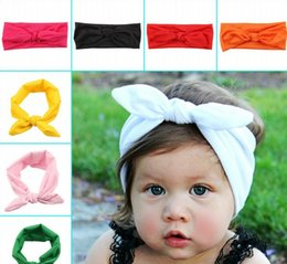 Wholesale Grass Bunny - 2015 Cute Children Girls Rabbit Ear Solid Color Hair Clasp Kids Girl Princess Casual Pure Colors Bunny Ears Bow Hair Sticks 8 Colors D3711