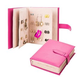 Wholesale Wholesale Stud Earrings Box - 2015 Pu leather Stud Earrings collection book pattern portable jewelry display creative jewelry storage box 4color choose