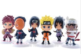 Wholesale Action Figure Itachi - 6pcs set 7CM 2.1 inch Naruto Action figure, Naruto itachi Sasuke Obito Gaara pembunuh PVC mainan Kids toys Children's Day Gifts 201506LY