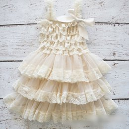 Wholesale Suspenders For Girls - Babies dresses girls princess dress Chiffon Tier Dress For Girls Birthday Party Dress Ivory Lace Ruffle Layered Dress For Child Dress A7245