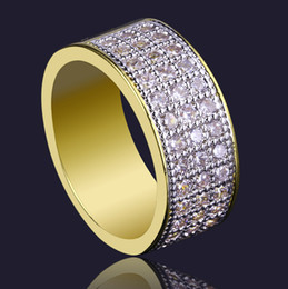 Wholesale Mens Filled Rings - Fashion Hiphop Rings Gold For Mens Top Quality Full Diamond Hip Hop Ring Jewelries Luxury Party Accessories Wholesale