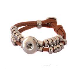 Wholesale Diy Wrap Bracelet - 2015 Snaps Jewelry Real Leather Bracelet for Women Brown Wrap Pulseira DIY Button Charm Bracelets 18MM Ginger Snaps Bracelet