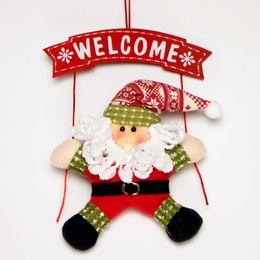 Wholesale Free Christmas Door Decorations - Christmas Wreath Christmas Snowman Party Door Decor christmas Decoration Xmas Rosonse Gifts 5pcs lot free shipping