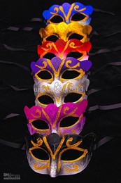 Wholesale Gold Red Masquerade Masks - Promotion Selling Party Mask With Gold Glitter Mask Venetian Unisex Sparkle Masquerade Venetian Mask Mardi Gras Masks Masquerade Halloween
