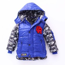 Wholesale Snow Coat For Kids - Boys Winter Jacket 2015 New Baby Kids Warm Hooded Coats Children Cotton Padded Outwears Parka for Boy Snow Jackets