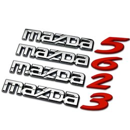Wholesale Mazdaspeed Badge - Red Pure Metal Mazda 2 3 5 6 Car Tail Displacement Stickers Emblems Accessories M2 M3 M5 M6 Mazdaspeed Styling Badges Decoration 1736