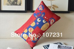 Wholesale 2pcs Cut Cartoon tall Giraffe Printed Red Cushion Cotton Linen For Home Decorative Bed Pillow Car x50cm Drop shipping