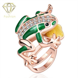 Wholesale Set Frog Plates - 2015 New Arrival Rose Gold Plated Statement Green Enamel Frog Fashion Unisex Gold Jewelry