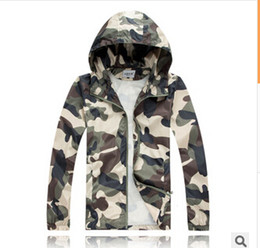 Wholesale Male Outdoor Jacket - Men fashion Slim Super Dry Camouflage Windbreaker Tide Male Hooded Jackets Coats Outdoor Sport Jaquetas Sunscreen thin section