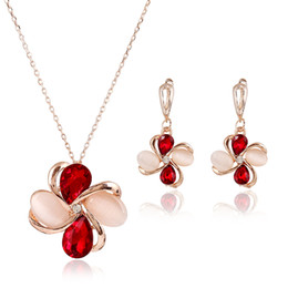 Wholesale Cheap Women Necklaces - Jewelry Sets for Bridesmaids Rose Gold Engagement Earrings and Necklace Fine Cheap Jewelry for Women