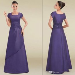 Wholesale Blue Chinese Bridesmaid Dresses - Simple Short Sleeves Bridesmaid Dresses Lavender Satin Square A-line Long Chinese Bridesmaid Gowns 2015 Vestidos Para Festa De Casamento