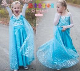 Wholesale Baby Sequin Dress Chiffon - DHL Fedex Free New Frozen gauze Dress 2015 girl baby sweet princess dance tutu party cape sequins snowflake lace dresses C001