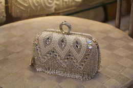 Wholesale Rhinestone Bridal Bag - Free Shipping Fashion Bridal Hand Bags Best Gift For Bridal Handmade Rhinestone Beaded Clutches Evening Bags For Prom Party Bridal Bags zyy