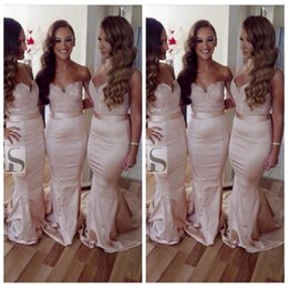 Wholesale One Shoulder Fishtail Wedding Dress - Sweetheart Lace Appliques Mermaid Bridesmaid Dresses Beautiful Cheap Online Fishtail Formal Bridesmaid Wedding Gowns 2016 Custom