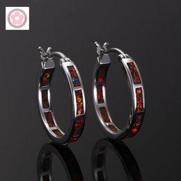 Wholesale Earrings Hoop Opal - Wholesale- RH0006 Classic Fire Opal Hoop Earrings For Women