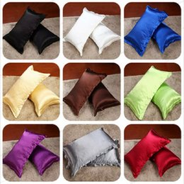 Wholesale Silk Pillow Cover Free Shipping - Wholesale-Free shipping ,17 color (2 Pieces Lot) 48*74cm solid color Silk Pillow Cover Standard Queen Silk Cotton Pillow Case Decorative
