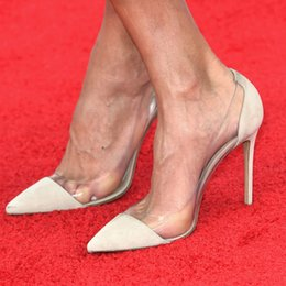 Wholesale Elegant Red Heels - Elegant Designer Women Sandals 2015 Inspired By Celebrity Giuliana Rancic Thin High Heel Pointed Toe Pumps Party Sandals OL Shoes Red Carpet