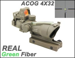 Wholesale Trijicon 4x32 Acog Scope Sight - Tactical Trijicon ACOG 4x32 Fiber Source Green Illuminated Real Green Fiber Scope With RMR Micro Red Dot Sight Dark Earth
