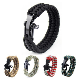 Wholesale camping cords - 14 Colors Self-rescue Cord Rope Paracord Buckle Bracelets Military Bangles Sport Travel Camping Hiking Outdoor Survival Gadgets