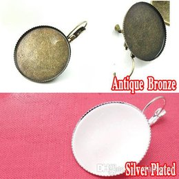 Wholesale Bezel Set Silver Earrings - Wholesale 50piece Antique Bronze-Silver Plated Earring Hook Jewelry with inner 25mm Bezel Setting Teeth edge Tray for Cabochons