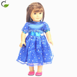 Wholesale Short Blue Skirt Cartoon - Handmade American Girl Doll clothes and accessories Blue short sleeve skirt outfit Fit 18 inch American Girl doll