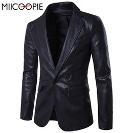 Wholesale Slim Suit Jacket Leather Sleeves - Wholesale- Spring New Men Blazer One-button Slim Fit Men's Black PU Leather Jacket Long Sleeve Casual Fashion Mens Suit Blazer Masculino