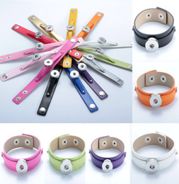Wholesale Metal Hand Cuffs - DIY bracelet leather hand chain Wristband Cuff Jewellery Fit 18MM Snaps Buttons Noosa Metal Snap Button Charm E274L