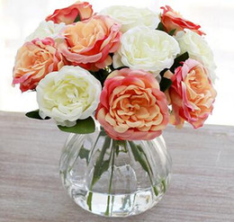 Wholesale Artificial Hot Pink Roses Wholesale - simcer rose silk artificial flowers home decorations and party wedding decorative free shipping hot sell item