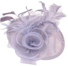Wholesale Ladies Veiled Hat - Fascinator top hat women lady feather linen flower hat cap skullcap wedding fancy party festive top hat veil charm headwear hair jewely