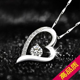 Wholesale model heart - Factory Direct 925 silver pendants wholesale everlasting love heart necklace explosion models selling promotional Valentine's Day to send hi