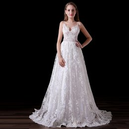 Wholesale Bridal Robes China - Real Images Beach Wedding Dress With Spaghetti Straps 2017 Vintage Full Lace Bridal Dresses China Custom Made Robe de mariee A016