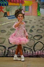 2019 fotos chicas lindas chicas Imagen real Vestidos para niñas Vestidos de color rosa de manga larga Vestido de bola de organza Vestidos de niños pequeños lindos Vestidos de niñas fotos chicas lindas chicas baratos