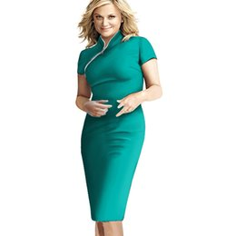 Wholesale Pinup Xs - Wholesale-Women Formal Stand Neck Rockabilly Pinup Plus size celebrity Short Sleeve Career Zipper Party pencil Vintage Bodycon dress b60