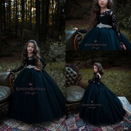 Wholesale Gothic Princess Dress - Gothic Black New Arrival Ball Gown Girl's Pageant Dresses With Beads Sashes Flower Girl Dresses Long Sleeves Tiered Tulle Birthday Gowns