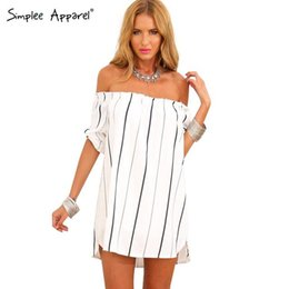 Wholesale Celebrity Women Apparel - Wholesale-Simplee Apparel 2015 Summer women dress vestido White striped slash neck off the shoulder Sexy celebrity mini loose party dress