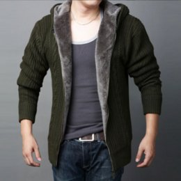 Wholesale Men Cashmere Fur Coats - Hot 2017 New the Men Fur Lined Weave knitting Button Cardigan Hoodie coat Sweater Knitwear Jumper