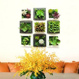 Wholesale Bonsai Wall - creative gifts 3D simulation of three-dimensional wall stickers Flower bonsai plants Succulents TV living room wall stickers home decoration