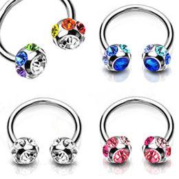 Wholesale Horseshoe Lip - 1 x Fashion Crystal Surgical Steel Horseshoe Lip Bar Stud Nose Ear Nipple Ring Hoop order<$15 no tracking