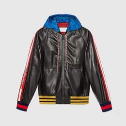 Wholesale Leather Jacket Coat Long - 2017 mens head Leather jackets sportswear Fashion Windbreaker marks Zipper hoodies Coats Outwear men's north jacket tags Free shipping