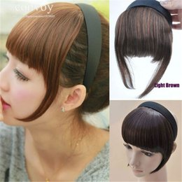 Wholesale Synthetic Hairpiece Blonde - Womens Hair bangs Hair Accessories Synthetic Hairpiece Straight bang with hairband Extra Long Front Fringe Blonde Light Brown Black LH28