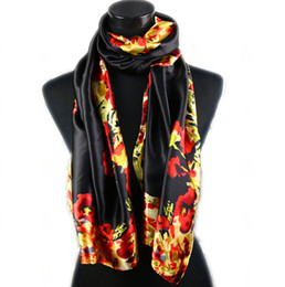 Wholesale flower painting patterns - 1pcs Black Women's Fashion Satin Flower Pattern Oil Painting Long Wrap Shawl Beach Silk Scarf 160X50cm