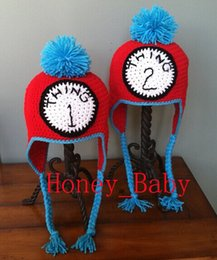 Wholesale Crochet Skull Caps - Free Shipping Handmade Crocheted THING 1 THING 2 Twins Hat Baby Boys Girls Hat Newborn Infant Cartoon Winter Hat Children's Beanie Cotton
