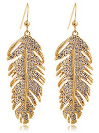 Wholesale luxury feather earrings - Fashion Unique European Style Luxury Rhinestone Gold Silver Color Feather Shape Drop Earrings Jewelry For Women