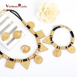 Wholesale Black Leather Braid Necklace - WesternRain 2017 Real Gold Plated 18K Top Quality New Women braided leather jewelry Romantic jewelry High-grade accessories jewelry set A404