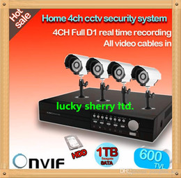 Wholesale Dvr Kit Hard Drive - CIA-Home CCTV Security 4CH Network DVR Outdoor Day Night Waterproof IR Camera Kit 600tvl with 1TB hard drive Video System FREE SHIP