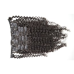 Wholesale hair full head curly weaves - 100% Brazilian Remy Human Hair weaving Clip In Hair Extensions 7PCS Full Head Set 8-26inch natural Color afro kinky curly hair G-EASY