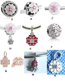 Wholesale Flowering Magnolia - 2017 Spring Magnolia Bloom Charms Beads Fit Pandora Bracelets 925 Sterling Silver Enamel Flowers Bead For Jewelry Making